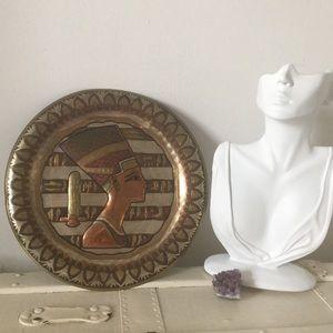 Vintage Eyptian Pharaoh Metal Decor Wall Plate